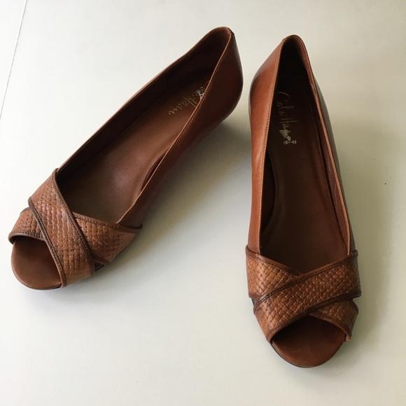Cole Haan Leather Low Wedge Peep Toe